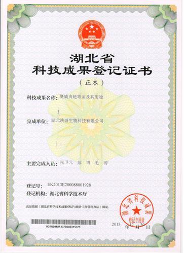 湖北省科技成果登记证书